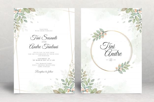 Bruiloft uitnodiging set sjabloon met bladeren aquarel