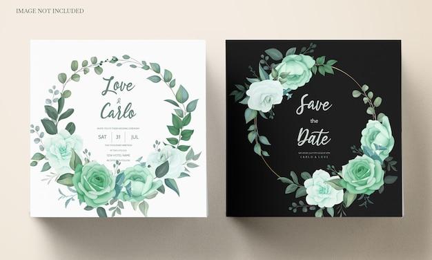 Bruiloft uitnodiging set sjabloon met groen bloemen