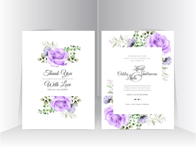 Bruiloft uitnodiging set sjabloon met mooie paarse roos