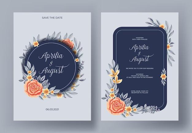 Bruiloft uitnodiging set van aquarel bloem en blad