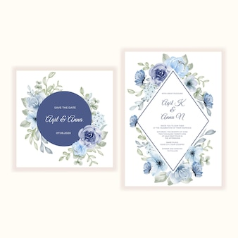 Bruiloft uitnodiging set van bloem blauwe aquarel illustratie