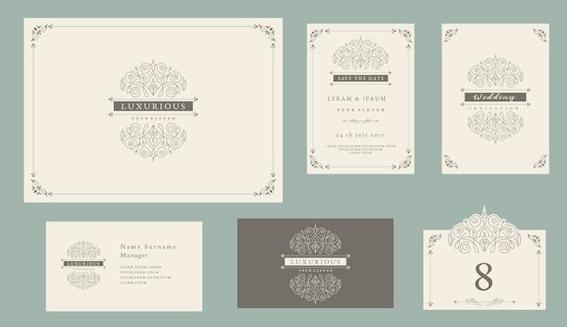 Bruiloft uitnodiging set vintage stijl