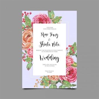 Bruiloft uitnodiging sjablonen met roos aquarel stijl