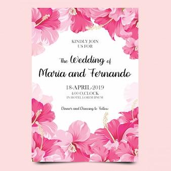 Bruiloft uitnodiging sjablonen met roze bloemen