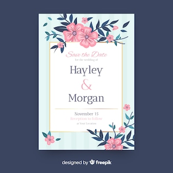 Bruiloft uitnodiging sjabloon bloemen details