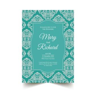 Bruiloft uitnodiging sjabloon elegant damast