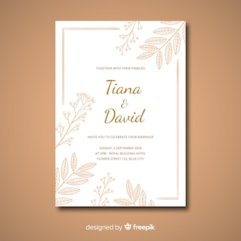 Bruiloft uitnodiging sjabloon elegante stijl