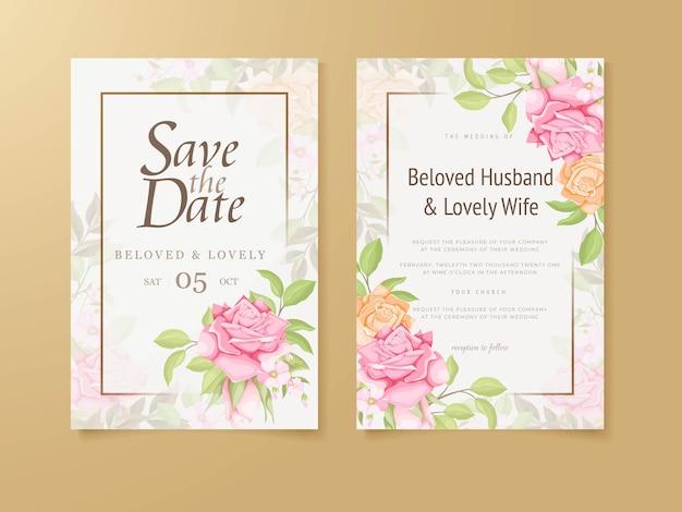Bruiloft uitnodiging sjabloon floral concept
