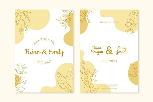 Bruiloft uitnodiging sjabloon gouden stijl