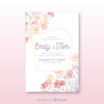 Bruiloft uitnodiging sjabloon handgetekende met bloemen