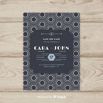 Bruiloft uitnodiging sjabloon in art deco-ontwerp