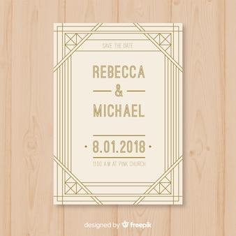 Bruiloft uitnodiging sjabloon in art decostijl