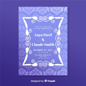 Bruiloft uitnodiging sjabloon in elegant damast