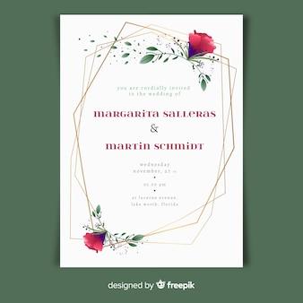 Bruiloft uitnodiging sjabloon in florale stijl