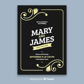 Bruiloft uitnodiging sjabloon in retro stijl