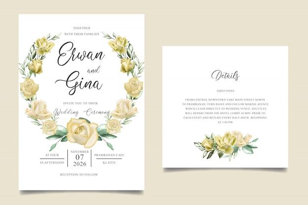 Bruiloft uitnodiging sjabloon kaart ontwerp met aquarel bloemen en bladeren