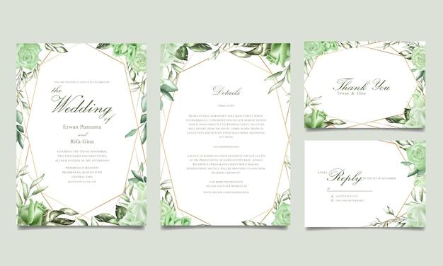 Bruiloft uitnodiging sjabloon kaart ontwerp met aquarel bloemen