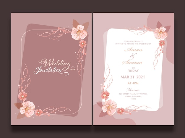 Bruiloft uitnodiging sjabloon lay-out versierd met bloemen in voor- en achteraanzicht