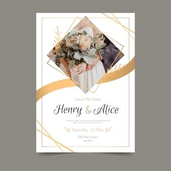 Bruiloft uitnodiging sjabloon met afbeelding Premium Vector
