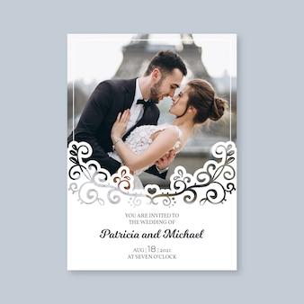 Bruiloft uitnodiging sjabloon met afbeelding