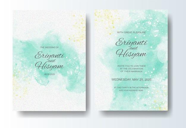 Bruiloft uitnodiging sjabloon met aquarel achtergrond en splash