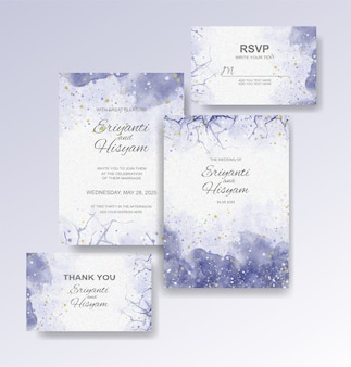 Bruiloft uitnodiging sjabloon met aquarel achtergrond