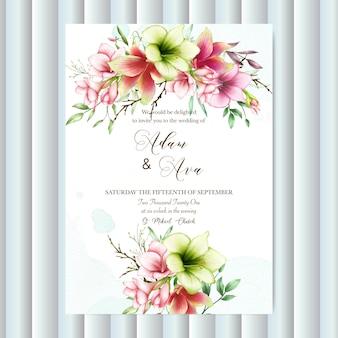 Bruiloft uitnodiging sjabloon met aquarel amaryllis bloemen