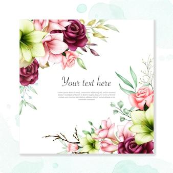 Bruiloft uitnodiging sjabloon met aquarel amaryllis en roze bloemen
