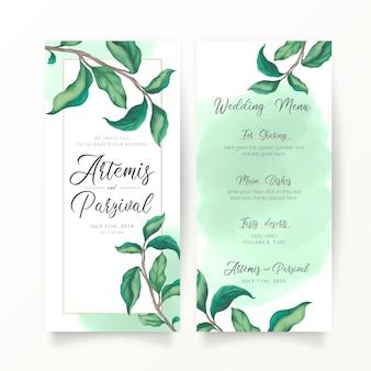 Bruiloft uitnodiging sjabloon met aquarel bladeren