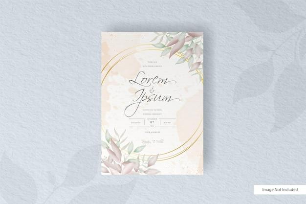 Bruiloft uitnodiging sjabloon met aquarel bloemdessin