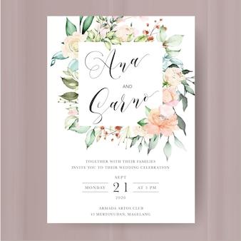 Bruiloft uitnodiging sjabloon met aquarel bloemen en bladeren