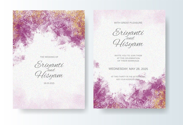 Bruiloft uitnodiging sjabloon met aquarel inkt splash