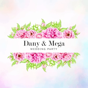 Bruiloft uitnodiging sjabloon met aquarel peony bloemen