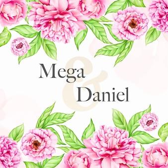 Bruiloft uitnodiging sjabloon met aquarel pioen bloemen