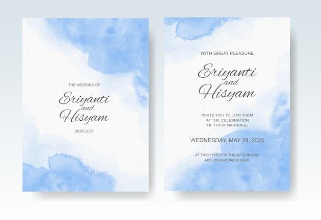Bruiloft uitnodiging sjabloon met aquarel splash Premium Vector
