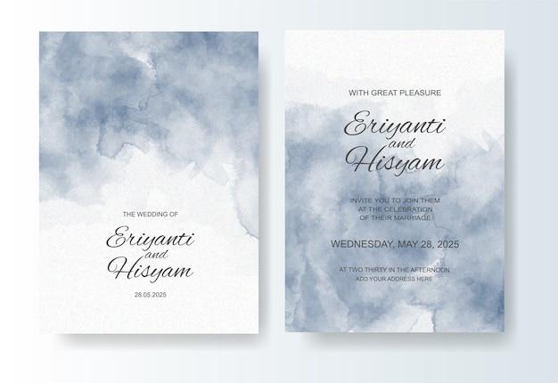 Bruiloft uitnodiging sjabloon met aquarel splash