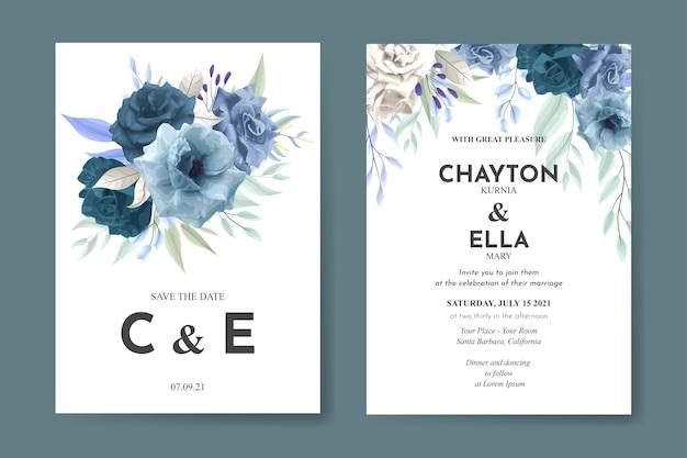 Bruiloft uitnodiging sjabloon met blauw roze bloem set