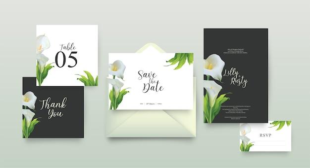 Bruiloft uitnodiging sjabloon met bloemdessin