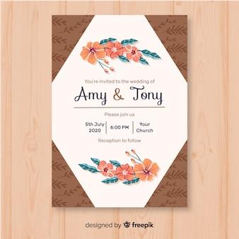 Bruiloft uitnodiging sjabloon met bloemen elementen