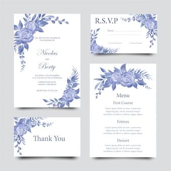Bruiloft uitnodiging sjabloon met bloemen en bladeren