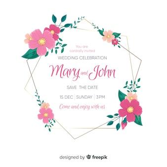 Bruiloft uitnodiging sjabloon met bloemen frame