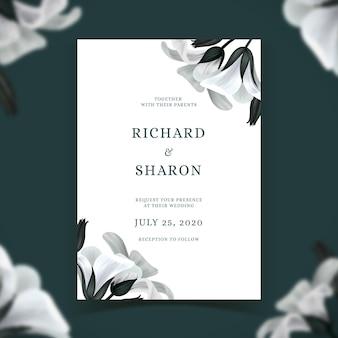 Bruiloft uitnodiging sjabloon met bloemen thema