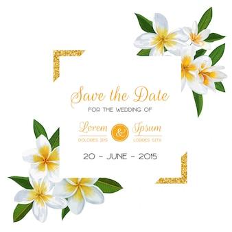 Bruiloft uitnodiging sjabloon met bloemen