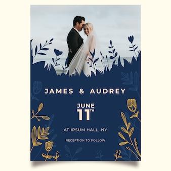 Bruiloft uitnodiging sjabloon met bruid en bruidegom