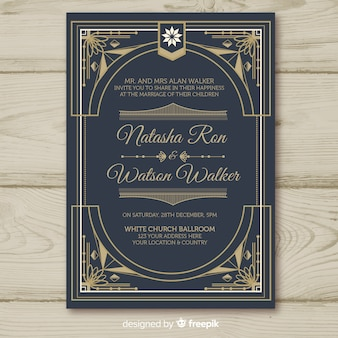Bruiloft uitnodiging sjabloon met decoratieve art deco-concept