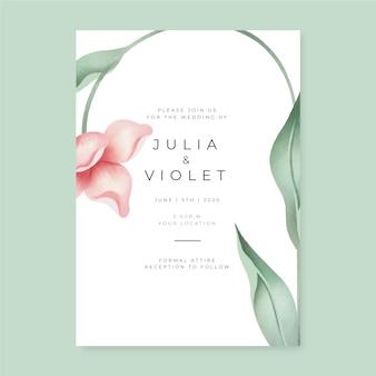 Bruiloft uitnodiging sjabloon met een grote bloem