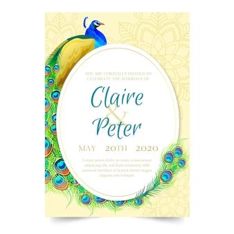 Bruiloft uitnodiging sjabloon met een pauw