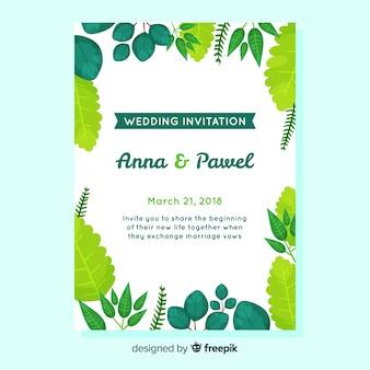 Bruiloft uitnodiging sjabloon met elegante bladeren