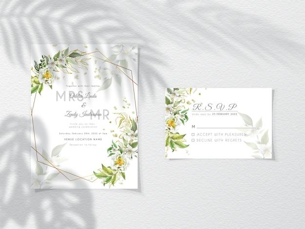 Bruiloft uitnodiging sjabloon met elegante bloemen