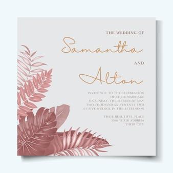 Bruiloft uitnodiging sjabloon met elegante tropische aard